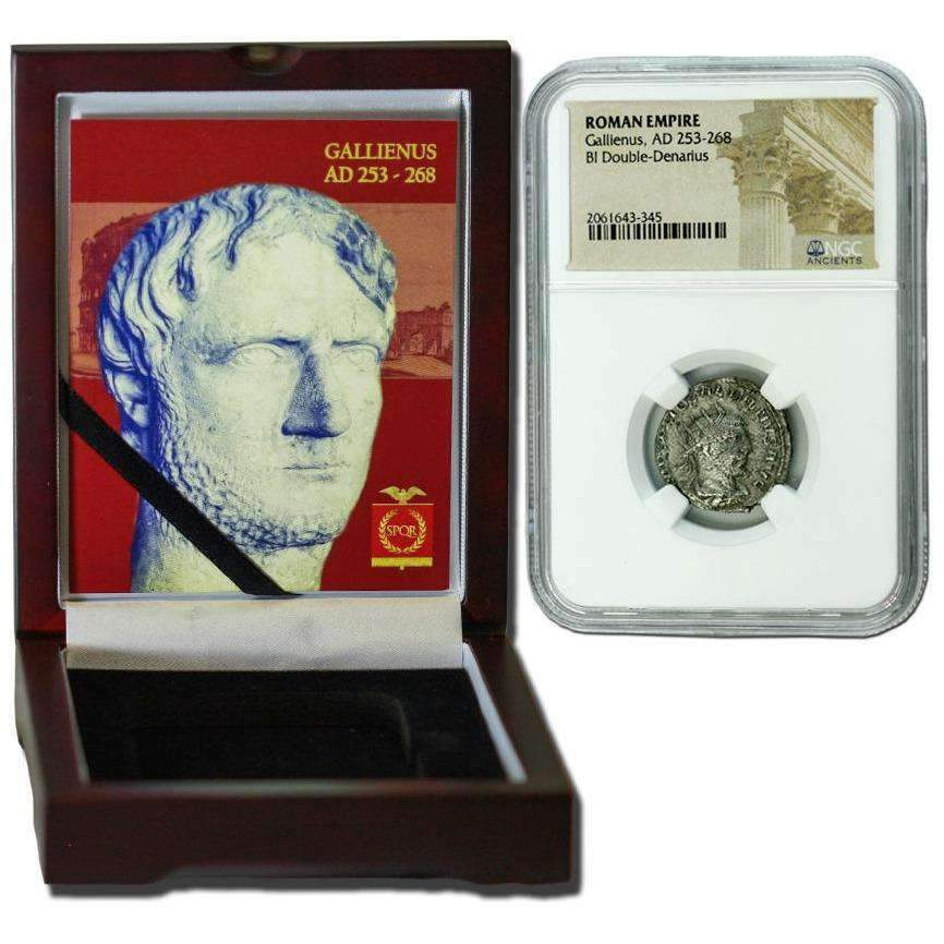 Roman Silver Antoninianus of Gallienus (AD 253-268) NGC Wood Box (Medium Grade) - HMint Precious Metals