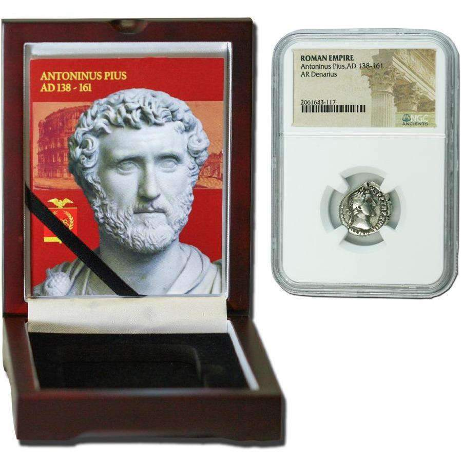 Roman Silver Denarius of Antoninus Pius (AD 138-161) NGC Wood Box (Medium Grade) - HMint Precious Metals