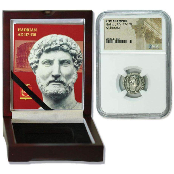 Roman Silver Denarius of Hadrian (AD 117-138) NGC Wood Box (Medium Grade) - HMint Precious Metals