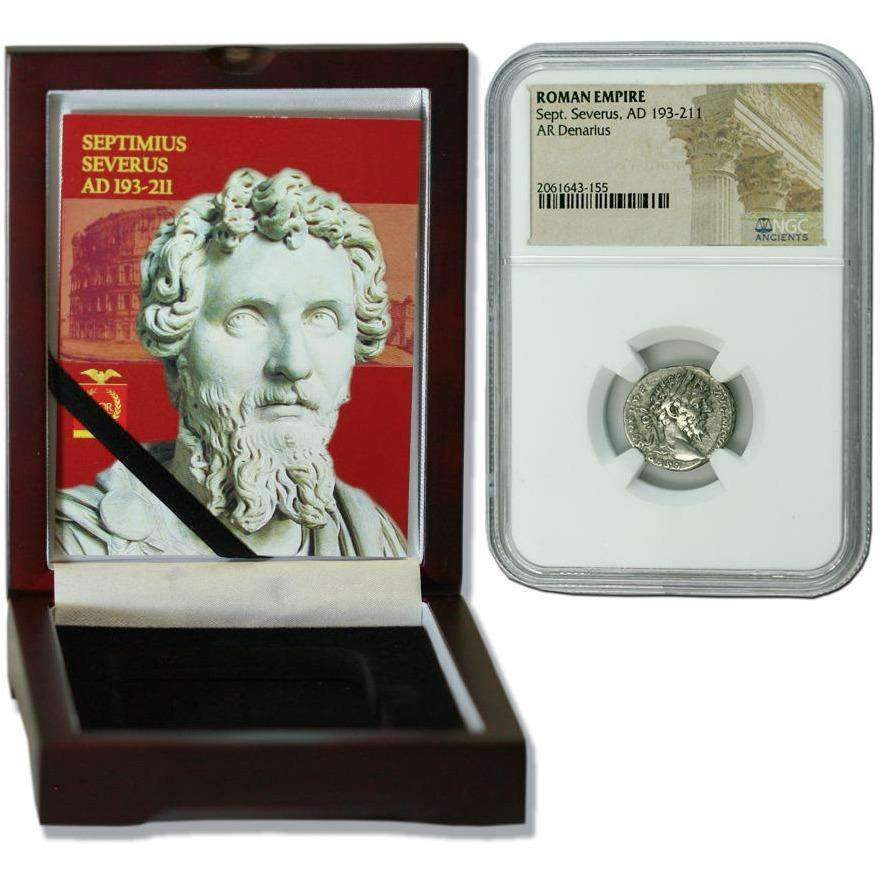 Roman Silver Denarius of Septimius Severus (AD 193-211) NGC Wood Box (Medium Grade) - HMint Precious Metals