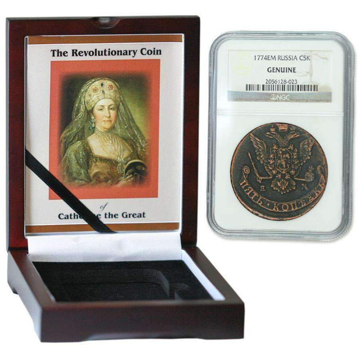 Russian 5 Kopek of Catherine the Great (AD 1767-96) NGC Wood Box (High Grade) - HMint Precious Metals