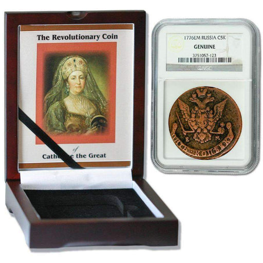 Russian 5 Kopek of Catherine the Great (AD 1776) NGC Wood Box (High Grade) - HMint Precious Metals