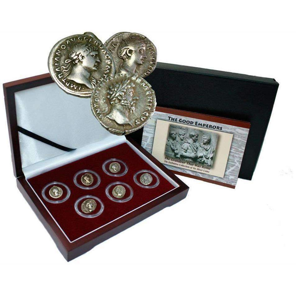 The Good Emperors of Ancient Rome: Box of 6 Silver Roman Coins - HMint Precious Metals