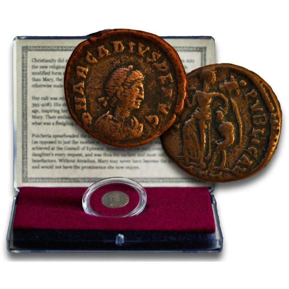 Virgin Mary Coin: Bronze Coin from the Reign of Emperor Arcadius Clear Box - HMint Precious Metals