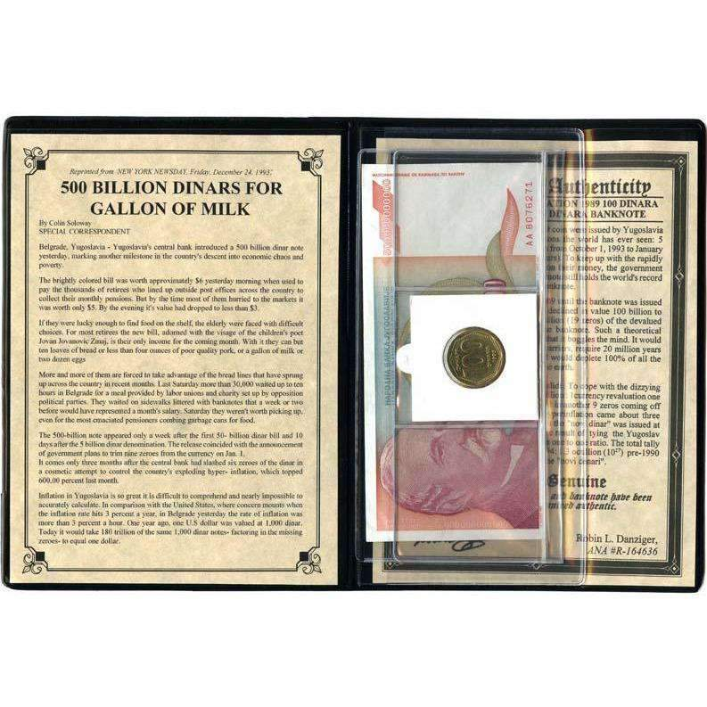 Yugoslavia Hyperinflation Banknote and Coin Album - HMint Precious Metals