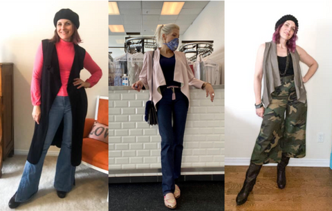 Left to right: Helluva vest over Meghan top, Faye Jacket in blush leatherette, Bonnie vest in taupe linen over camo Jill pants