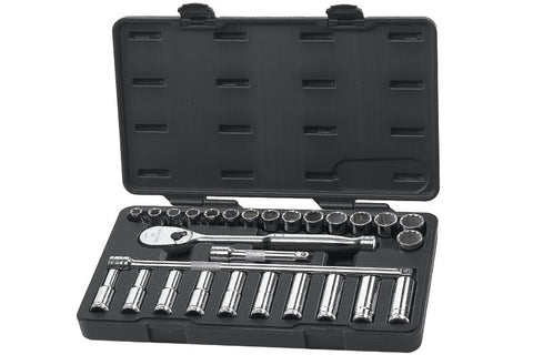 "GEARWRENCH 28 PC. 1/2"" DRIVE 6 & 12 POINT STANDARD & DEEP METRIC MECHANICS TOOL SET (GW80709)"