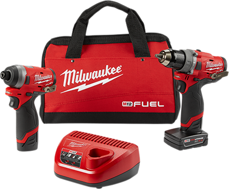 MILWAUKEE M12 FUEL COMBO KIT 1/2 HAMMER DRILL 1/4 IMPACT WRENCH (M2598-22)