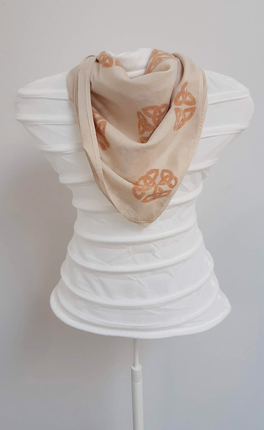 Hand Painted Organic Cotton Scarf- Celtic Shield knot