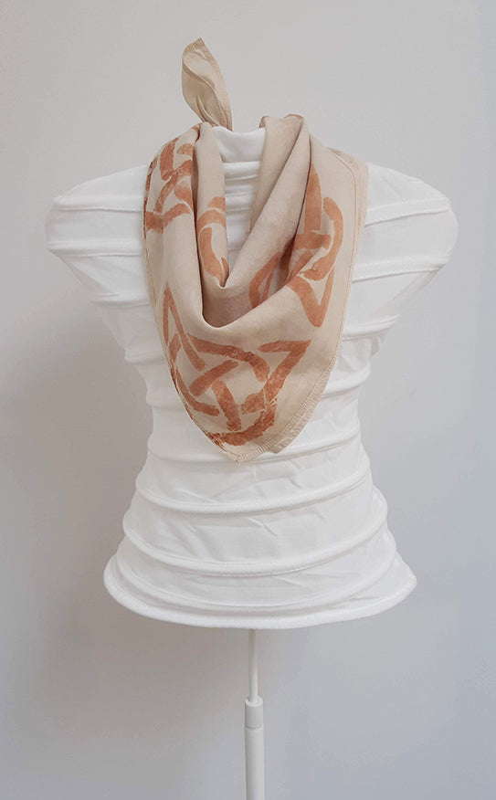 Hand Painted Organic Cotton Scarf- Celtic Triquetra knot