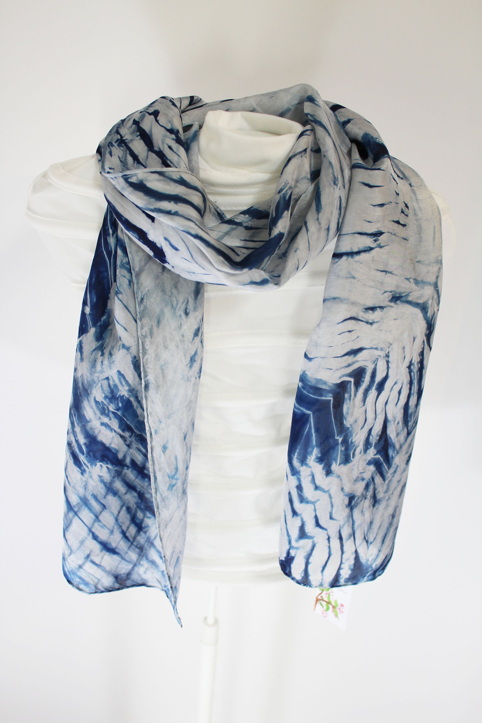 Silk Blue ripple scarf (plant based indigo dyed)