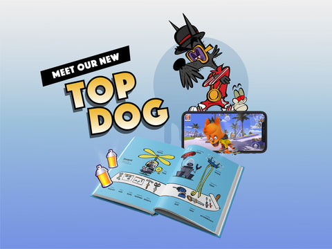 illustrated dog with book and phone