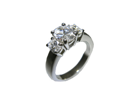 0.93ct Oval Cut Diamond in 3 Stone Ring