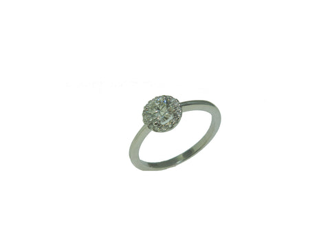 0.47ct Round Brilliant Cut Diamond in Low Diamond Halo