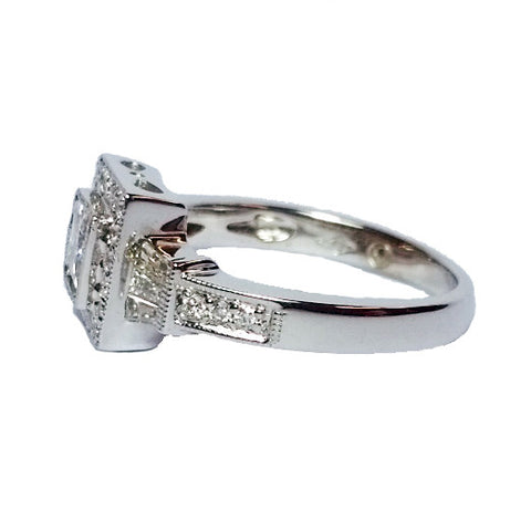0.50ct Princess Cut Diamond in Square Halo Ring