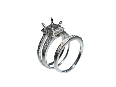 18K White Gold Nesting Princess Bridal Set