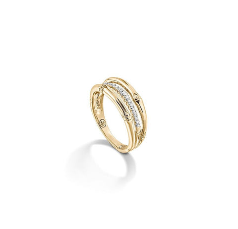 Bamboo Gold & Diamond Ring