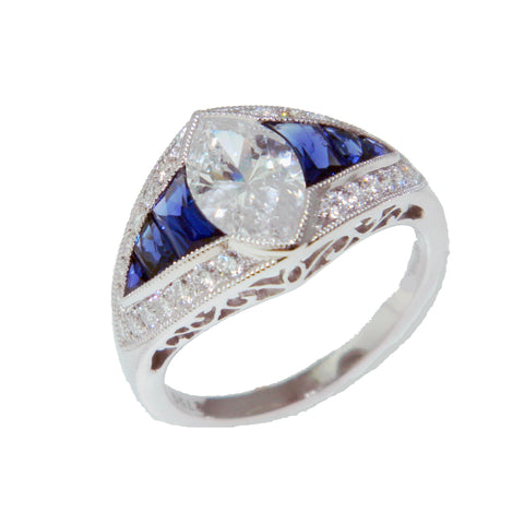1.15ct Marquise Cut Diamond in Sapphire Mounting