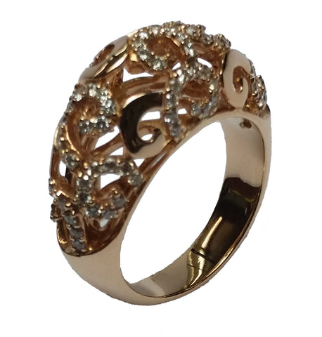 Open Dome Ring with Diamonds