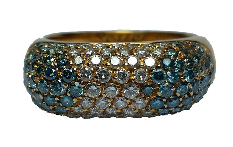 Domed Pavé Ring - Blue