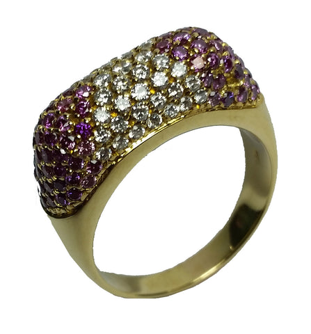 Domed Pavé Ring - Purple
