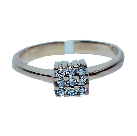 Small Square Diamond Cluster Ring