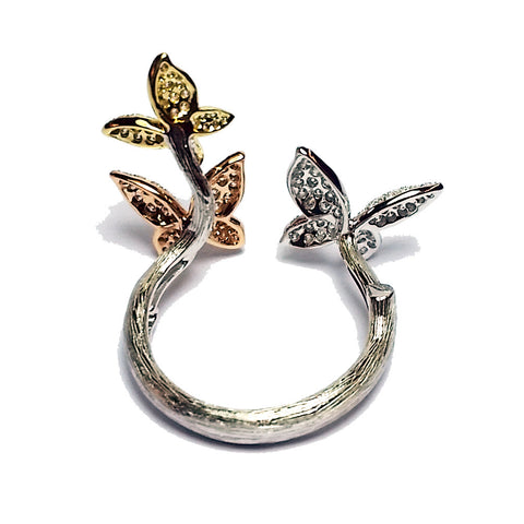 Tricolor Open Diamond Butterfly Ring