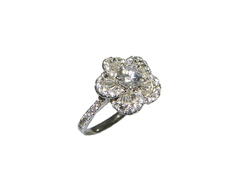 0.37ct Round Brilliant Diamond in Flower Cluster Ring