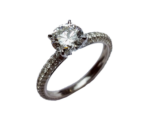 1.20ct Round Brilliant Cut Diamond in Micropave Ring
