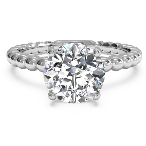 Scalloped Semi-Mounting Ring With Cubic Zirconia Center