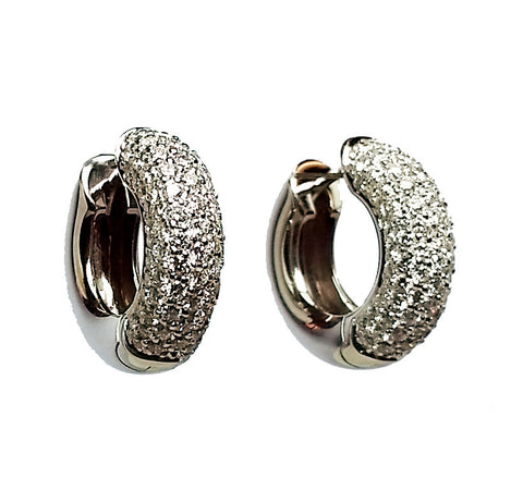 Pave Diamond Huggie Hoop Earrings