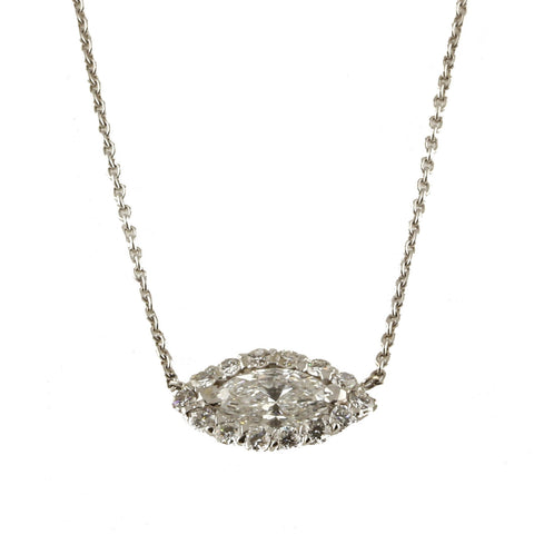 Marquise Halo Necklace - 1.00 cttw
