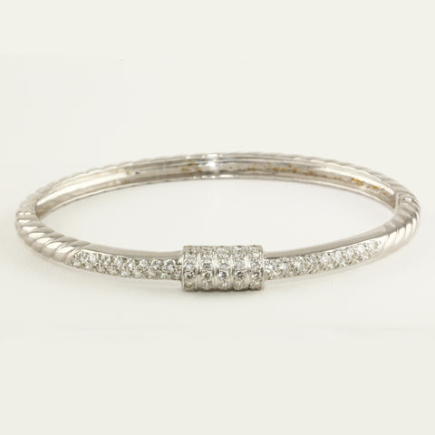 Diamond Oval Bangle - White