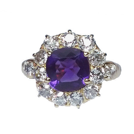 Cushion Amethyst Ring