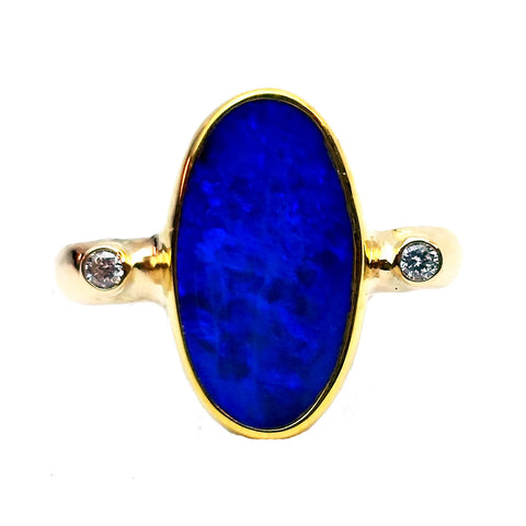 Blue Oval Opal Ring
