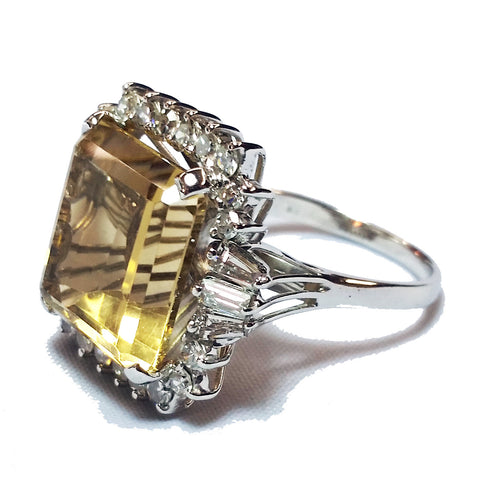 Large Square Citrine Ring