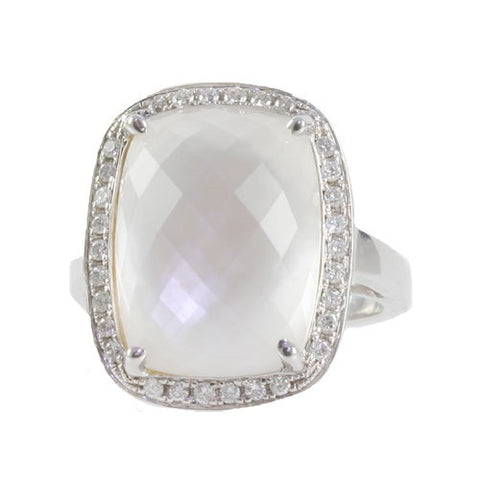 Quartz and Mother Of Pearl Doublet Ring