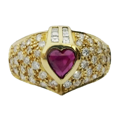 Heart Shape Ruby & Diamond Ring