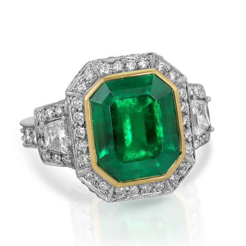 Two Tone Colombian Emerald & Diamond Ring