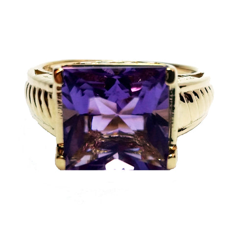 Square-Cut Amethyst Ring