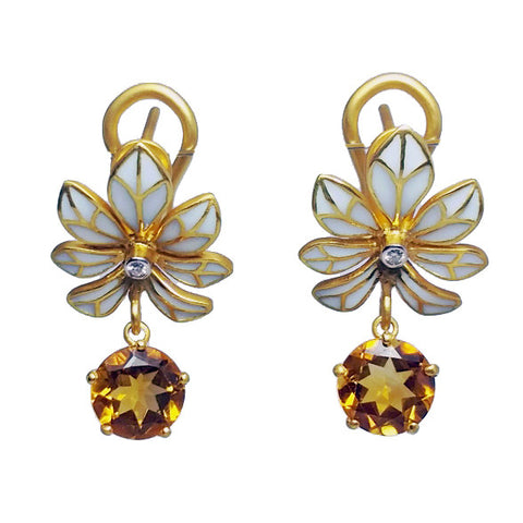 Citrine Enamel Flower Earrings