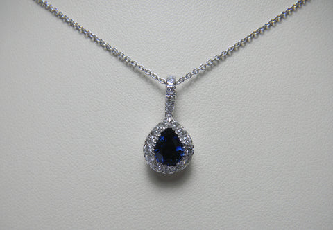Sapphire Pear Halo - 1.57 cttw