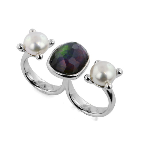 Two-Finger Pearl Ring