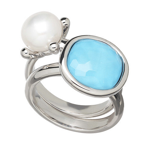 Turquoise & Pearl Stackable Rings Set