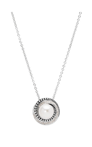 Pearl Beaded Swirl Necklace