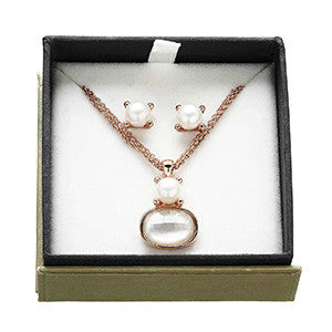 Pearl & Mother of Pearl Earrings & Necklace Gift Set