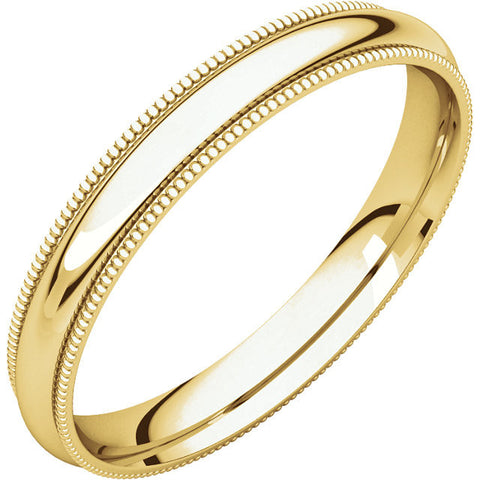 Men's 3mm Yellow Gold Milgrain Band