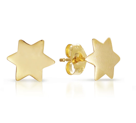 Yellow Gold Star of David Studs - 5mm