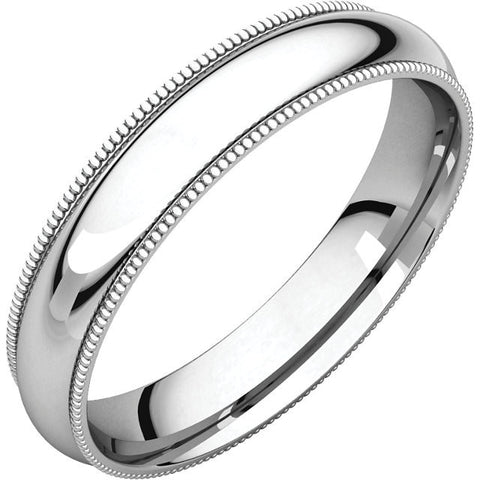 Men's 4mm Platinum With Milgrain Edge Band