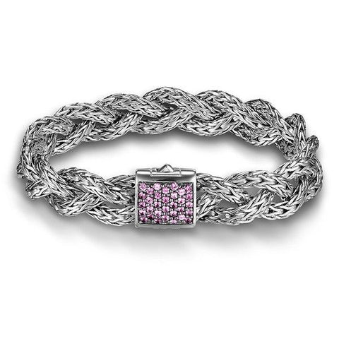 Classic Chain Small Pink Sapphire Braided Bracelet